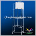 High quality modern black 5 tiers floor standing metal wire supermarket display shelf for chewing gum