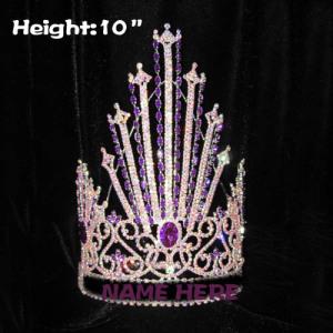 Coronas de concurso de clavos de cristal de 10 pulgadas con diamantes rosados
