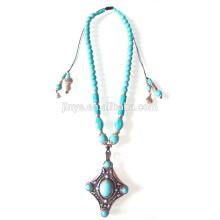 Bohemian Turquoise perles pendentif collier bijoux