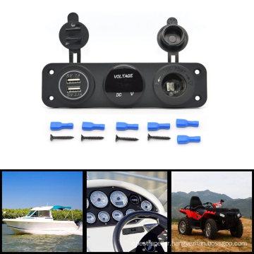 3 Hole Panel with Power Outlet Socker, Dual Port USB Car Charger, Digital Voltmeter 12V Socket Panel