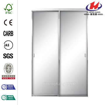 80-1/2in Nickel Aluminum Framed Mirror Sliding Door