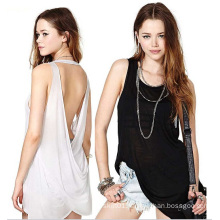 Wholesale Fashion Ladies Tops Back Cross Cotton Women Blouse