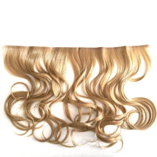 Curly Wave Style Blond Color Customized Clip Hair Extensions Human Virgin Remy Hair