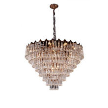 Square Chinese Long Glass Drops Hotel Led Chandelier Light Country Lighting