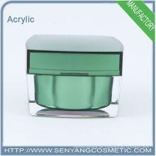 2015 nuevos frascos de embalaje de lujo cuadrados venta al por mayor de acrílico cosméticos de embalaje frasco de crema de acrílico para el cuidado de la piel