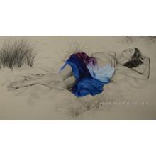 100% Handmade Naked Mulheres Retrato Pintura