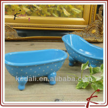 Blue color oval shape ceramic mini bathtub