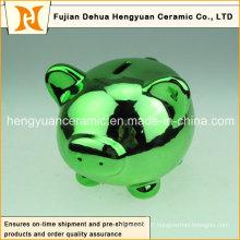 Multicolore Galvanisation Céramique Pig Piggy Bank pour Décoration