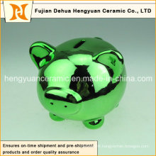 Multicolor Electroplating Ceramic Pig Piggy Bank for Home Decoration