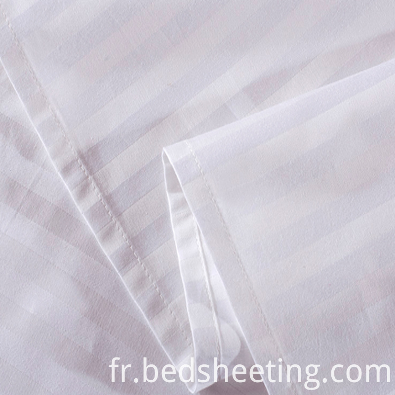 White Cvc Hotel 1cm Stripe Sheets