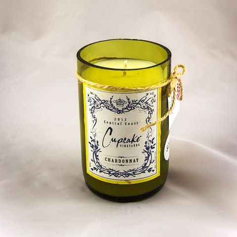 scented soy candle in wine bottle with incline cut bottom