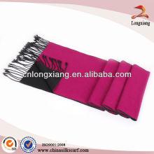 Invierno doble cara seda bufanda de borla lisa