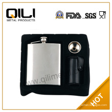 promotion stainless steel hip flask and cups whisky set