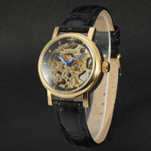 watch men brand alloy case with leather band skeleton design