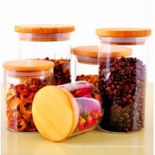 Tarro de Almacenamiento de Alimentos de Vidrio Borosilicato de Tapa de Bambú de 400ml