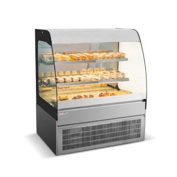 Vitrine de geladeira de bolo de vidro curvo estilo padaria aberta