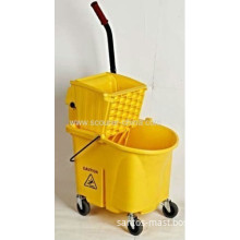 Eco-friendly Yellow 26l Side Pressing Usa Mop Cleaning Bucket Wringer Trolley