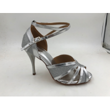 Girls Silver Latin Skor Med High Heel