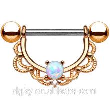 Opala anel de mamilo chapeado mamilo barbell kaiyu jóias