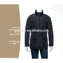 Nuevos hombres negros de nylon brillantes al aire libre del invierno de la llegada abajo chaqueta sin la capilla