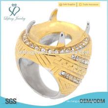 Batu Ring aus Edelstahl Mode Ring für lose Edelstein großen Stein Ring baik gemacht