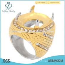 Anel de batu feito por anel de moda de aço inoxidável para pedra preciosa solta anel de pedra grande baik