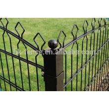 green PVC coated spear top 2D welded double wire fence panel