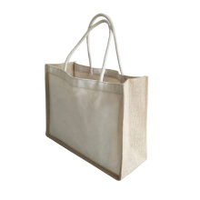 Personalized Manufacturer Wholesale Printed Burlap Shopping Tote Jute Bag with Cotton Handle