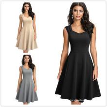 New Women′ S Sleeveless Dress A-Line Large Swing V-Neck Dress