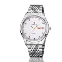 Billige Schmucksache-Edelstahl-Woche und Datum-Anzeigen-Paar-Armbanduhr