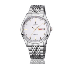 Joyería baratos de acero inoxidable semana y fecha de visualización par reloj de pulsera