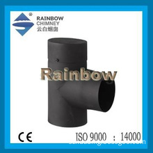 CE indoor single wall steel  90 degree tee with cap for wood chimney