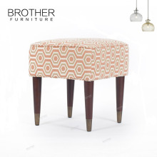 High quality footstool frames with 4 wooden legs Square Fabric Covered Child's Wooden Stools
