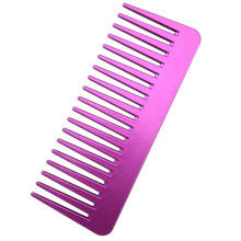 Metalic Plastic Square Wide Tooth Comb for Curly Hair