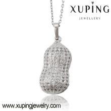 Moda elegante charme ródio cz amendoim imitação de jóias cadeia pingente-32613