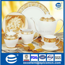 high quality and reasonable price of porcelain tea set and flat plates with gold leaves decals