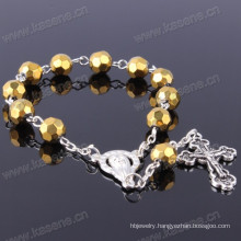 Gold 8mm Section Crystal Beads Fashion Bracelet