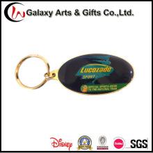 Metal impresso costume Keychains / porta-chaves com logotipo de borracha
