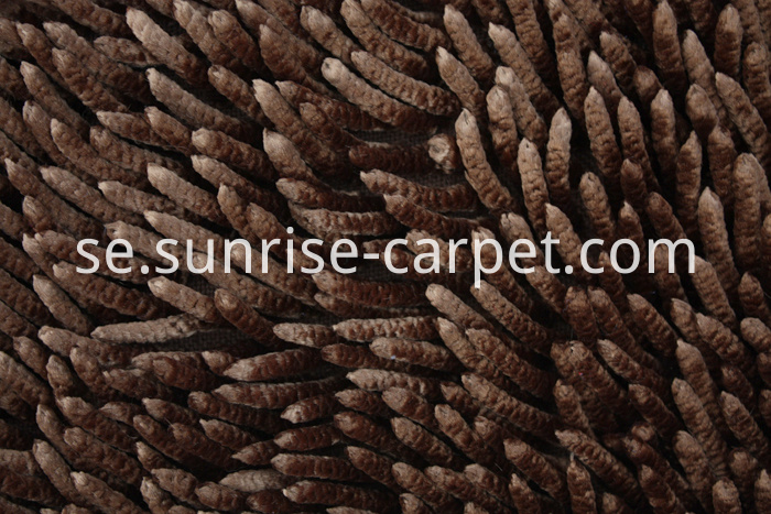Shinning Polyester Chenille Rugs brown