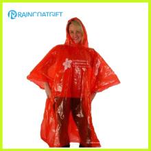 Poncho adulto vermelho descartável da chuva do PE da emergência