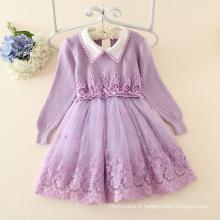 nouvelle mode automne floral à manches longues robe filles chandail / enfants robe pull fille
