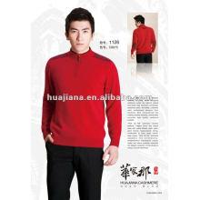 Luxury men's pullover cashmere sweater with half zipper
