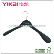 Deluxe Rubber Coated Wooden Hanger with Wide Shoulders