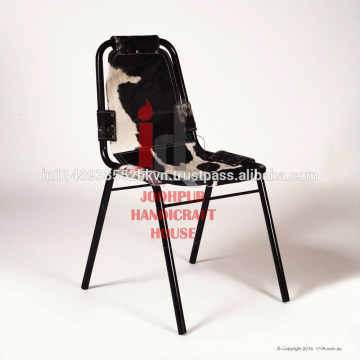 Industrial Cowhide Leather and Metal frame dining chair