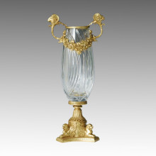 Statue de vase en cristal Fleur Jardiniere Bronze Sculpture Tpgp-011 (J)