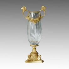 Crystal Vase Statue Flower Jardiniere Bronze Sculpture Tpgp-011 (J)