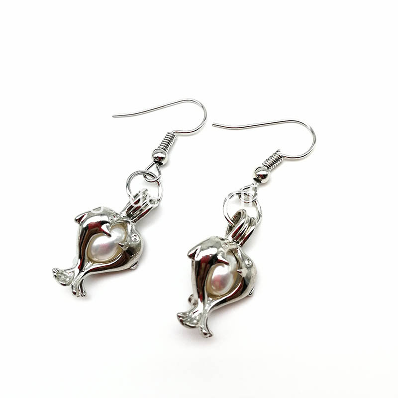 Double Dolphin Pendant Earrings