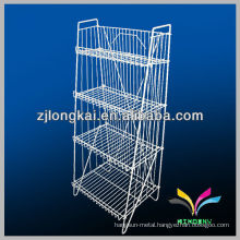 functional sturdy space-saving white 4 tiers foldable wire floor standing display units