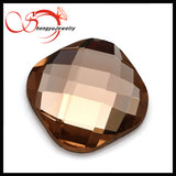 Cushion cut 6 *6 mm checkerboard flat bottom champagne glass stone