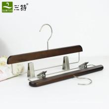 retro wooden pants hanger with metal clips
